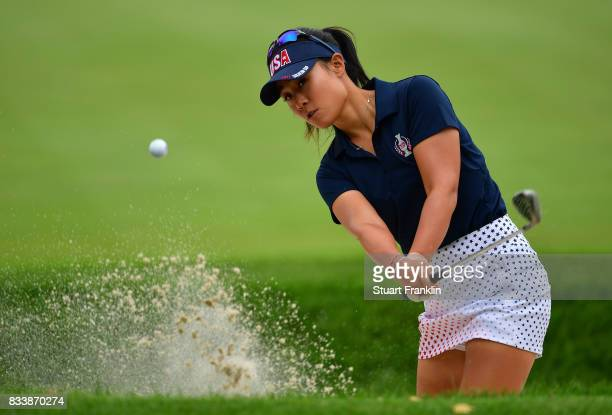 Danielle Kang of Team USA plays a bunker shot during practice prior to The Solheim Cup at Des Moines Golf and Country Club on August 17 2017 in West...