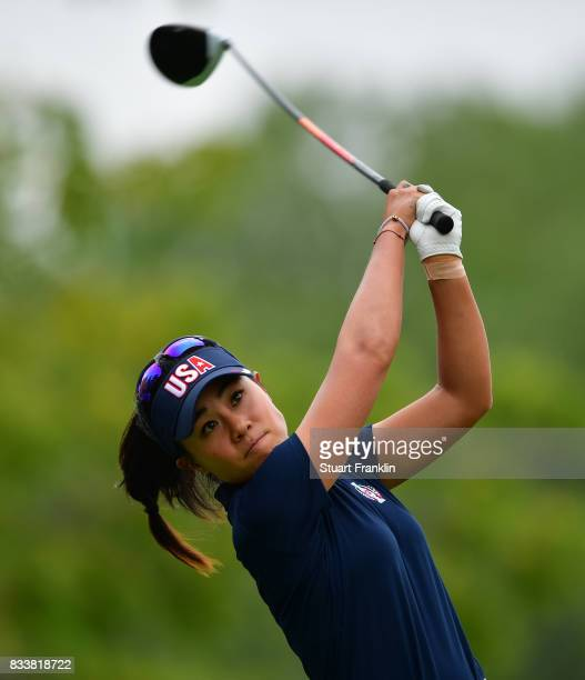 Danielle Kang of Team USA plays a shot during practice prior to The Solheim Cup at Des Moines Golf and Country Club on August 17 2017 in West Des...