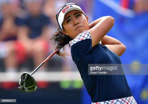 Danielle Kang of Team USA plays a shot during the final day singles matches of The Solheim Cup at Des Moines Golf and Country Club on August 20 2017...