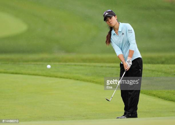 Danielle Kang of the United States chips onto the eighth green during the US Women's Open round two on July 14 2017 at Trump National Golf Course in...