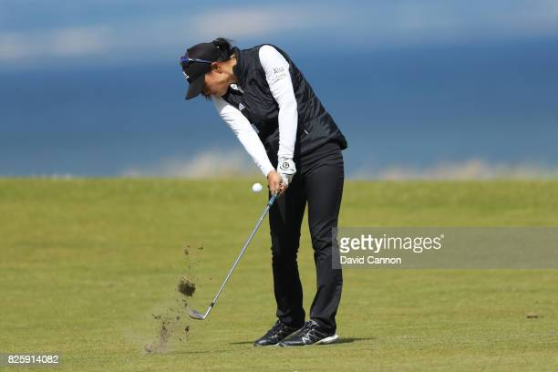 Danielle Kang of the United States hits her second shot on the 4th hole during the first round of the Ricoh Women's British Open at Kingsbarns Golf...