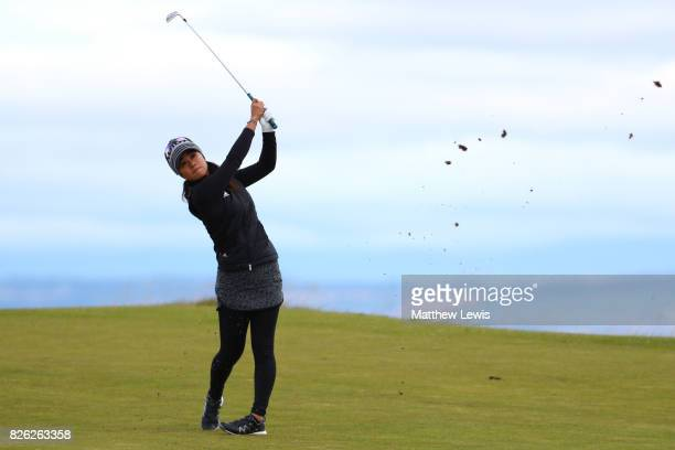 Danielle Kang of the United States hits her second shot on the 4th hole during the second round of the Ricoh Women's British Open at Kingsbarns Golf...