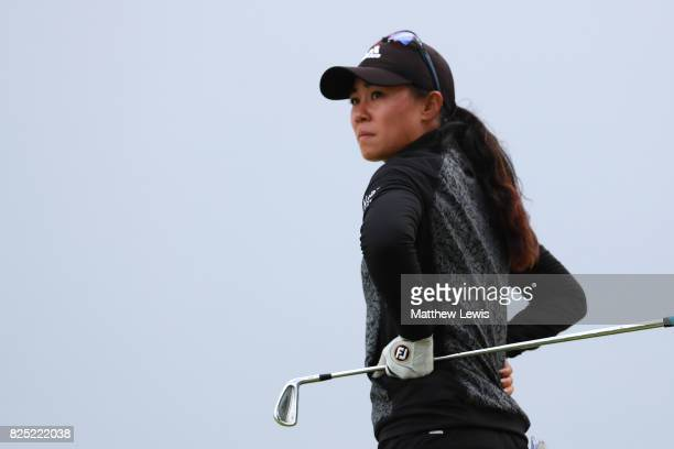 Danielle Kang of the United States looks on during a proam round prior to the Ricoh Women's British Open at Kingsbarns Golf Links on August 1 2017 in...