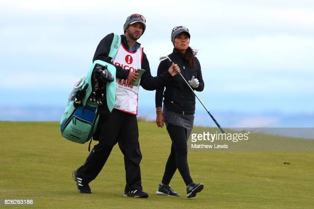 Danielle Kang of the United States looks on during the second round of the Ricoh Women's British Open at Kingsbarns Golf Links on August 4 2017 in...