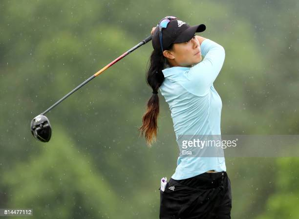 Danielle Kang of the United States takes her shot on the ninth tee during the US Women's Open round two on July 14 2017 at Trump National Golf Course...
