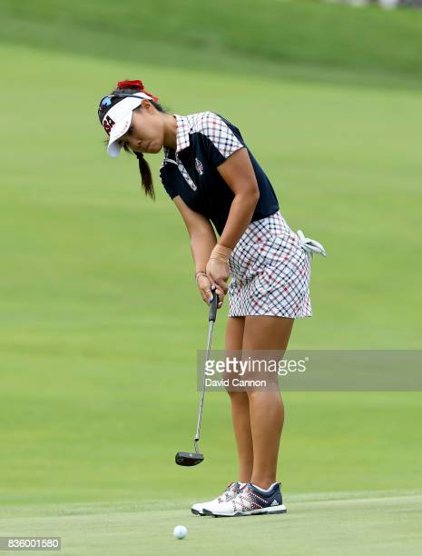 Danielle Kang of the United States team in action against Emily Pedersen of the European team during the final day singles matches in the 2017...