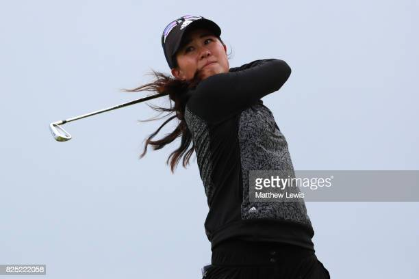 Danielle Kang of the United States tees off during a proam round prior to the Ricoh Women's British Open at Kingsbarns Golf Links on August 1 2017 in...