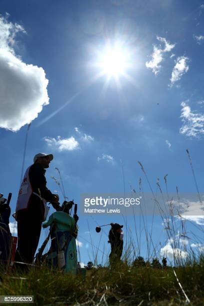 Danielle Kang of the United States tees off on the 8th hole during the first round of the Ricoh Women's British Open at Kingsbarns Golf Links on...