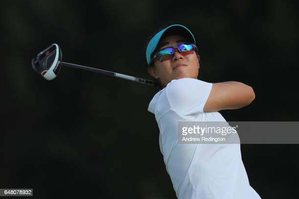 Danielle Kang of the USA hits her tee shot on the 11th hole during the final round of the HSBC Women's Champions on the Tanjong Course at Sentosa...