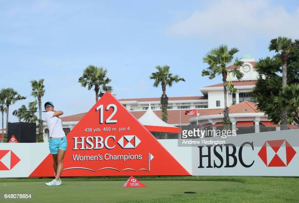 Danielle Kang of the USA hits her tee shot on the 12th hole during the final round of the HSBC Women's Champions on the Tanjong Course at Sentosa...