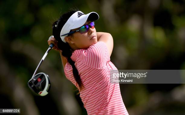 Danielle Kang of United States on the par four 14th tee during the first round of the HSBC Women's Champions on the Tanjong course at Sentosa Golf...