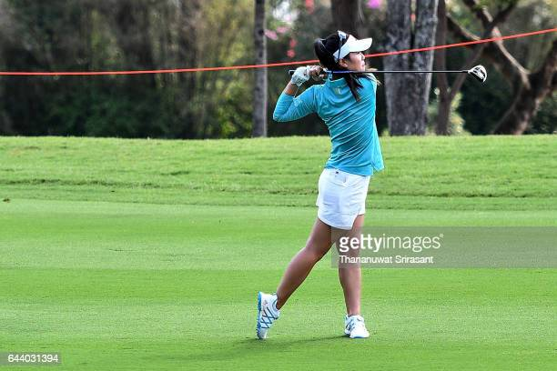 Danielle Kang of United States plays the shot during round one of the Honda LPGA Thailand at Siam Country Club on February 23 2017 in Chonburi...