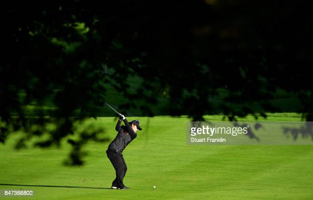 Danielle Kang of USA plays a shot during the weather delayed first round of The Evina Championship at Evian Resort Golf Club on September 15 2017 in...