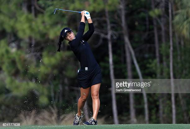 Danielle Kang plays her shot on the eighth hole during the second round of the CME Group Tour Championship at Tiburon Golf Club on November 18 2016...