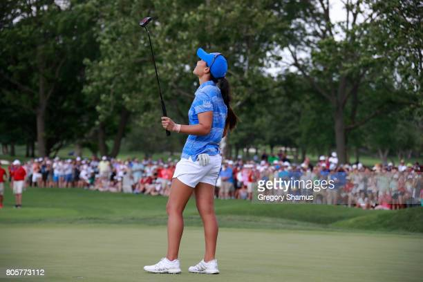 Danielle Kang reacts after making a birdie putt to win the the 2017 KPMG PGA Championship at Olympia Fields Country Club on July 2 2017 in Olympia...