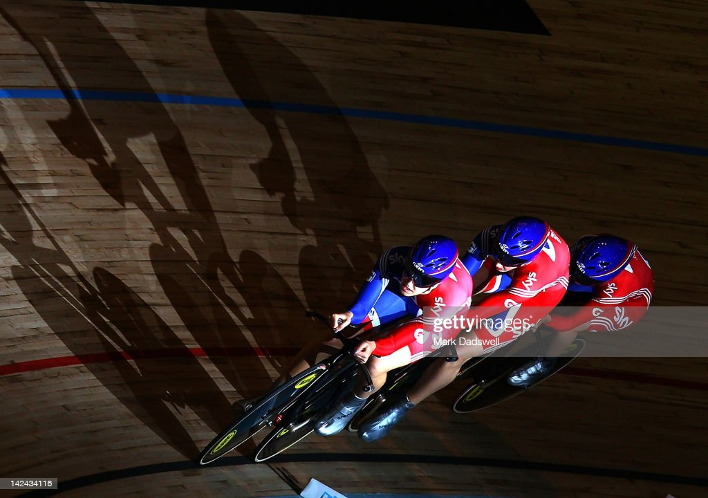 Danielle King, Laura Trott and Joanna Rowsell of team Great Britain compete in the Women's Team Pursuit at Hisense Arena on April 5, 2012 in Melbourne, Australia.