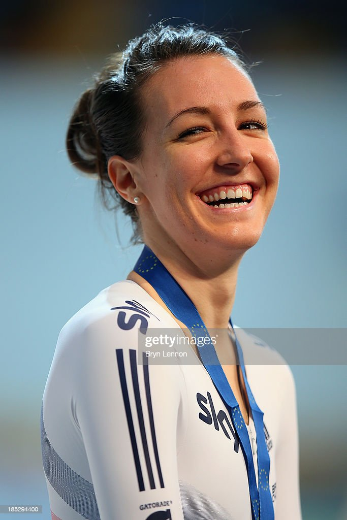 Danielle King of Great Britain smiles on the podium after finishing second in the Women's Points Race Final during day one of the 2013 European Elite Track Championship at Omnisport Apeldoorn on October 18, 2013 in Apeldoorn, Netherlands.