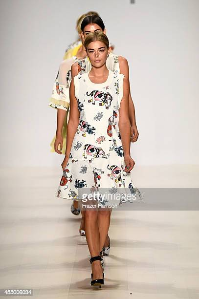 Danielle Knudson and models walk the runway at the Oudifu fashion show during MercedesBenz Fashion Week Spring 2015 at The Salon at Lincoln Center on...