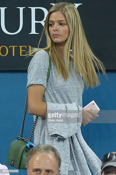 Danielle Knudson arrives to watch Milos Raonic of Canada in the Mens Final against Roger Federer of Switzerland during day eight of the 2016 Brisbane...