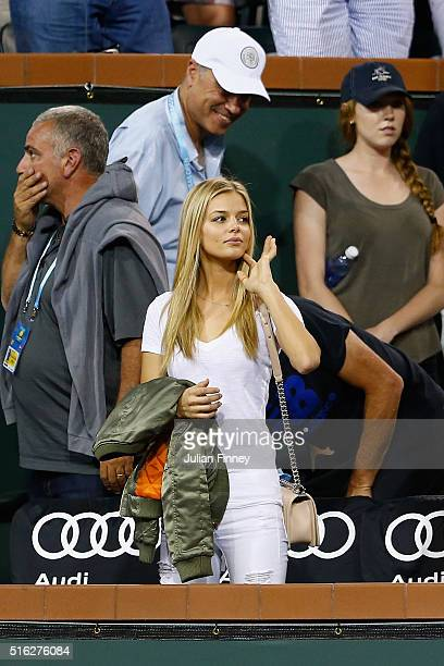 Danielle Knudson girlfriend of Milos Raonic of Canada looks on after his win over Gael Monfils of France during day eleven of the BNP Paribas Open at...
