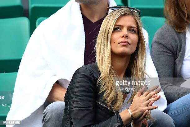 Danielle Knudson girlfriend of Milos Raonic of Canada watches play during the Men's Singles second round match between Milos Raonic of Canada and...