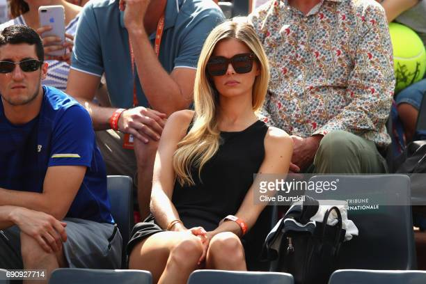 Danielle Knudson girlfriend of Milos Raonic watches on during his mens singles second round match against Rogerio Dutra Silva of Brazil on day four...