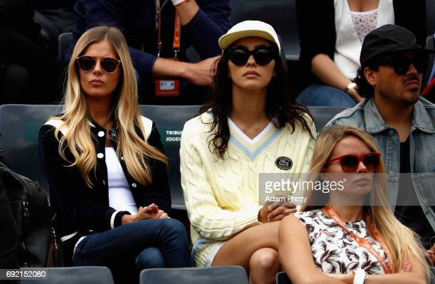 Danielle Knudson girlfriend of Milos Raonic watches on during the mens singles fourth round match between Milos Raonic of Canada and Pablo Carreno...