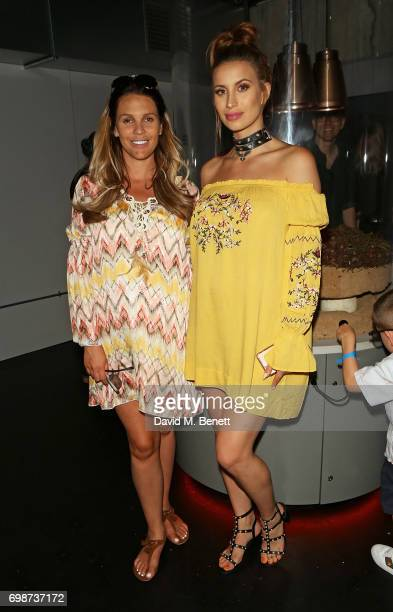 Danielle Lloyd and Ferne McCann attend the official launch of Dinosaurs in the Wild a new immersive experience at NEC Arena on June 20 2017 in...