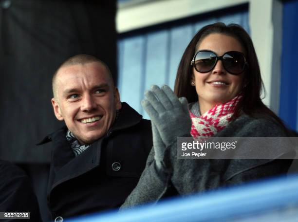 Danielle Lloyd and Jamie O'Hara before the FA Cup sponsored by EON 3rd Round match between Portsmouth and Coventry City at Fratton Park on January 2...