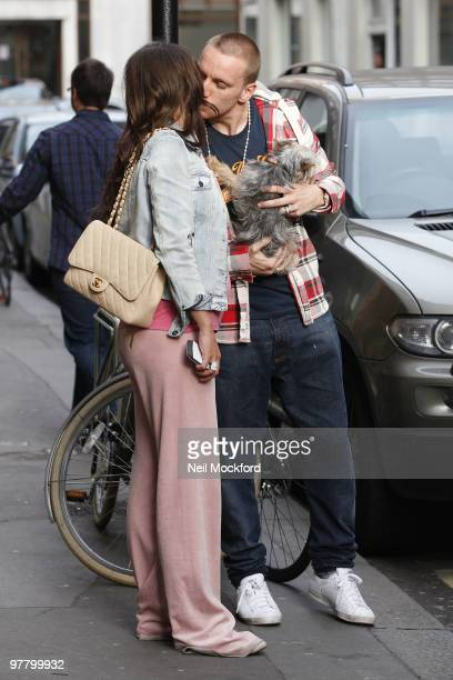 COVERAGE*** Danielle Lloyd and Jamie O'Hara Seen taking their new dog for a walk in Regents Park on March 17 2010 in London England
