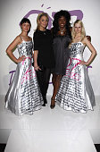 Danielle Lloyd and Mica Paris attend the '27 Dresses' Dress Auction Fashion Show at Sketch on March 04 2008 in London England