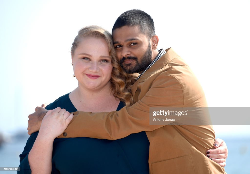 Danielle Macdonald (L) and Siddharth Dhananjay attend the 'Patti Cake$' Photocall during the 70th annual Cannes Film Festival at Palais des Festivals on May 26, 2017 in Cannes, France.