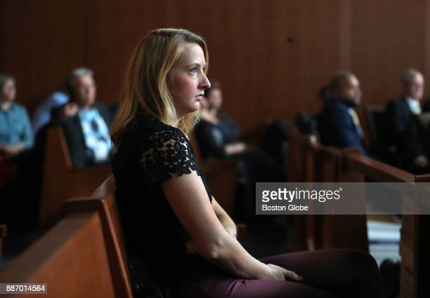 Danielle Messier the sister of Joshua Messier sits in the courtroom as a surveillance video of her brother being handled by the defendants is show...