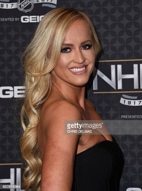 Danielle Moinet aka Summer Rae attends the red carpet event for the NHL 100 gala presented by Geico at the Microsoft theatre in Los Angeles on...