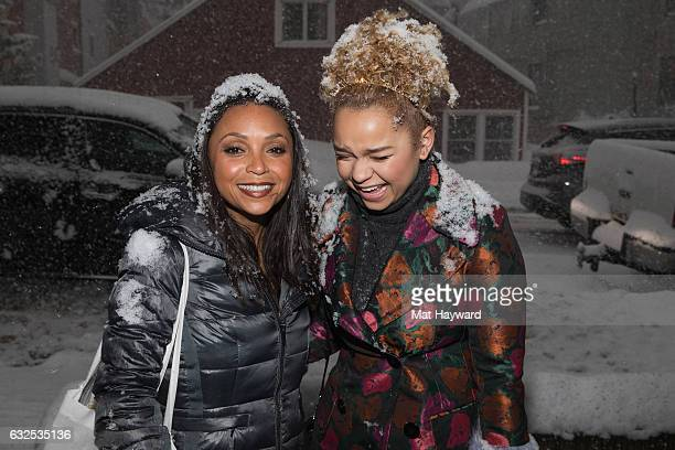 Danielle Nicolet and Rachel Crow pose for a photo in the snow during the Sundance Film Festival on January 23 2017 in Park City Utah