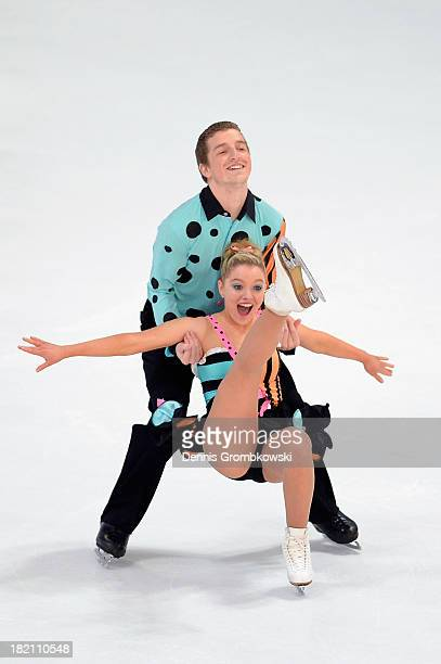 Danielle Obrien and Gregory Merriman of Australia compete in the Ice Dance Free Dance competition during day three of the ISU Nebelhorn Trophy at...