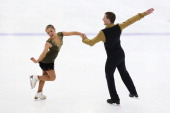 Danielle O'Brien and Gregory Merriman of Australia compete in the Senior Short Dance during Skate Down Under at Canterbury Olympic Ice Rink on August...