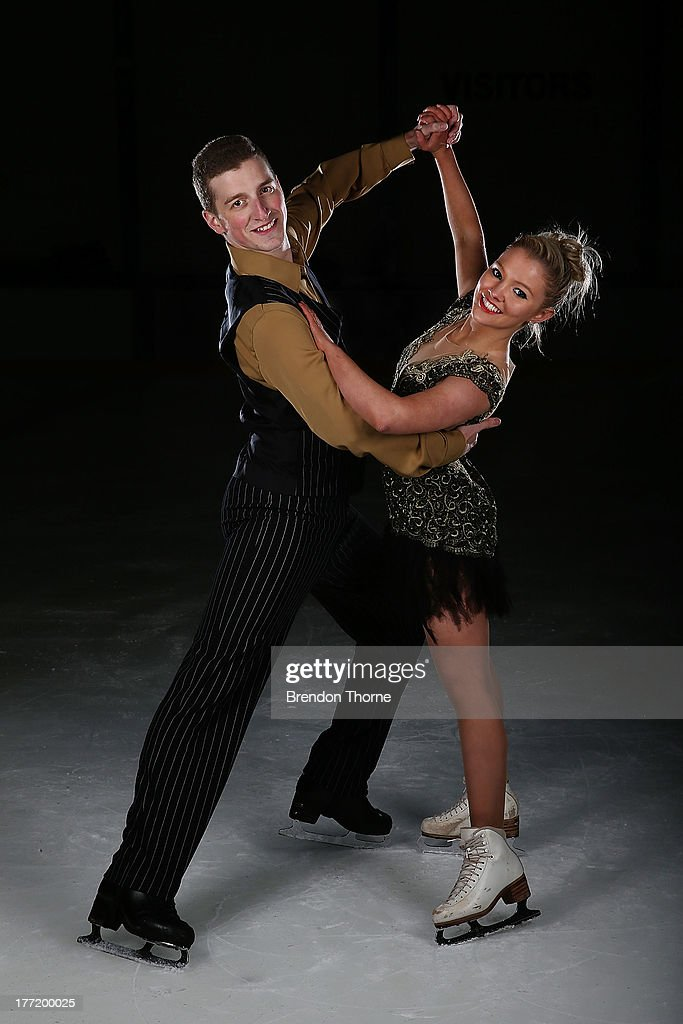 Danielle O'Brien and Gregory Merriman of Australia pose following Skate Down Under at Canterbury Olympic Ice Rink on August 22, 2013 in Sydney, Australia.