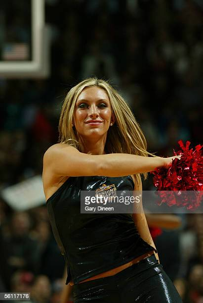 Danielle of the Chicago Luvabulls dance team performs during the game between the San Antonio Spurs and the Chicago Bulls at the United Center...