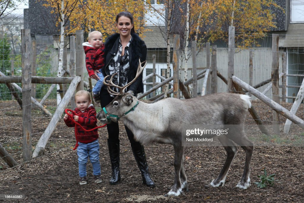Danielle O'Hara brings her boys Archie & Harry to ZSL London Zoo to be the first to meet Father Christmas and his Reindeer, at ZSL London Zoo on November 15, 2012 in London, England.