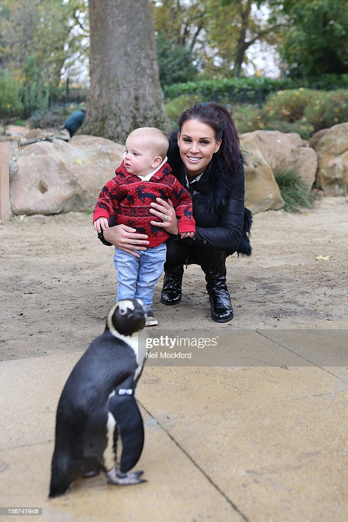 Danielle O'Hara nee Lloyd seen feeding the Penguins with her children Archie and Harry at ZSL London Zoo on November 15, 2012 in London, England.