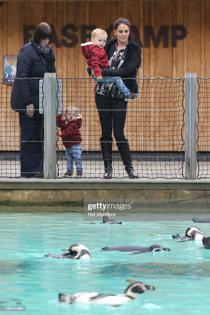 Danielle O'Hara nee Lloyd seen with her children Archie and Harry at ZSL London Zoo on November 15, 2012 in London, England.