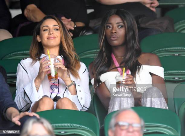 Danielle Peazer and AJ Odudu attend day one of the Wimbledon Tennis Championships at the All England Lawn Tennis and Croquet Club on July 3 2017 in...