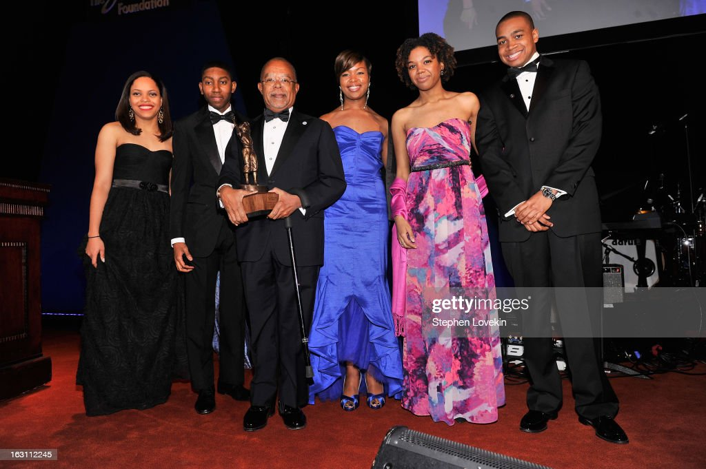 Danielle Pingue, Chad Foster, Henry Louis Gates Jr., Khyara Harris, Erika Butler and Christopher Russell pose onstage at the The Jackie Robinson Foundation Annual Awards' Dinner at the Waldorf Astoria Hotel on March 4, 2013 in New York City.