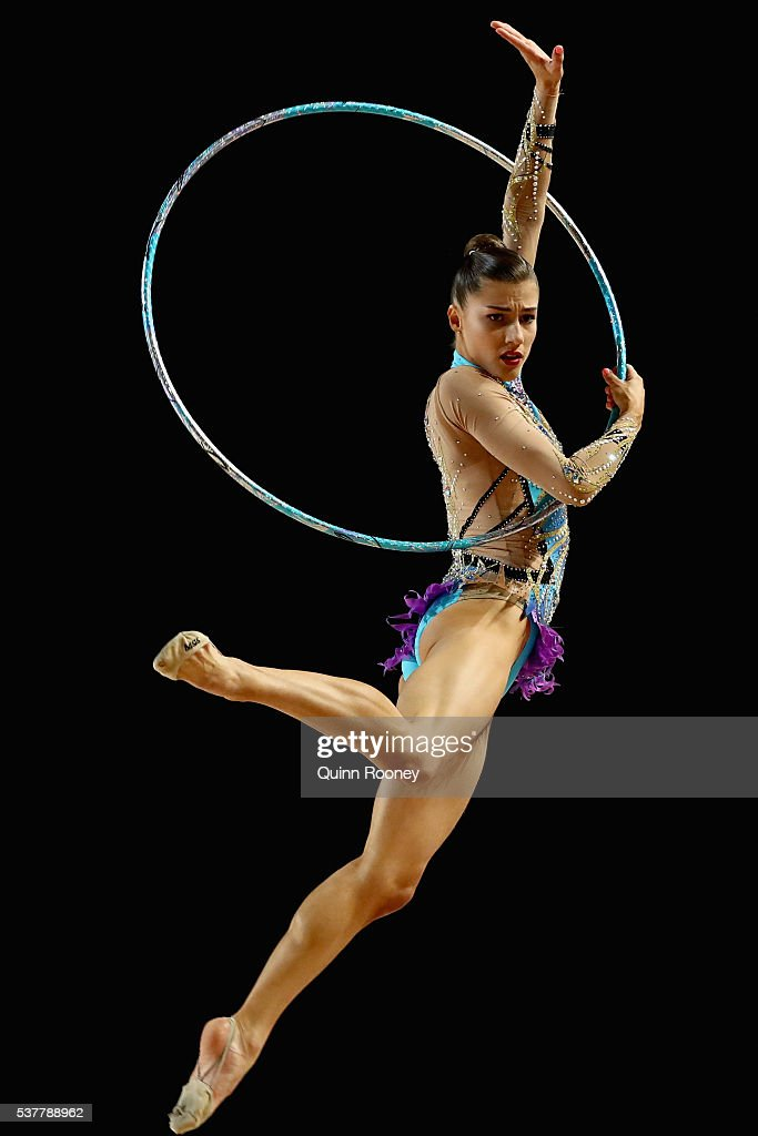 Danielle Prince of Queensland competes with the hoop in the rhythmic gymnastics during the 2016 Australian Gymnastics Championships at Hisense Arena...