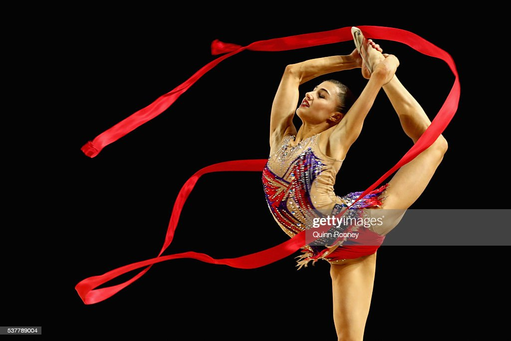 Danielle Prince of Queensland competes with the ribbon in the rhythmic gymnastics during the 2016 Australian Gymnastics Championships at Hisense...