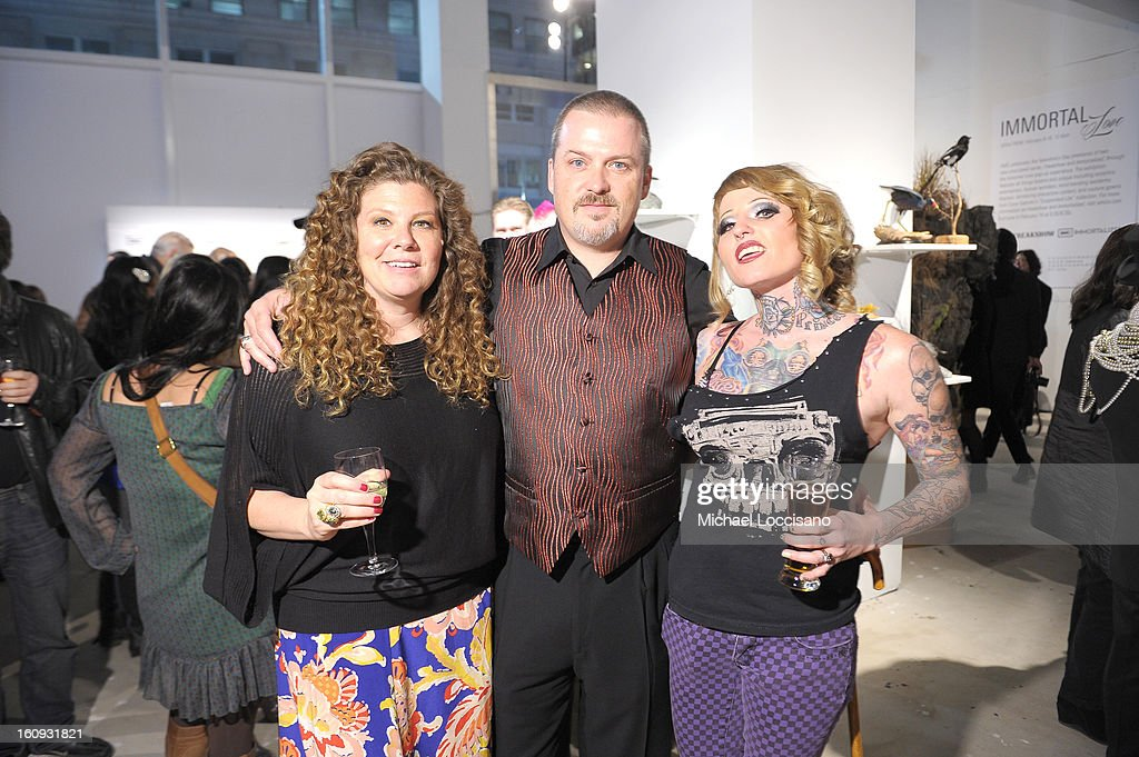 Danielle Ray, Todd Ray, and Brianna Belladonna attend Immortal Love Pop-up Experience - Freakshow & Immortalized on February 7, 2013 in New York City.