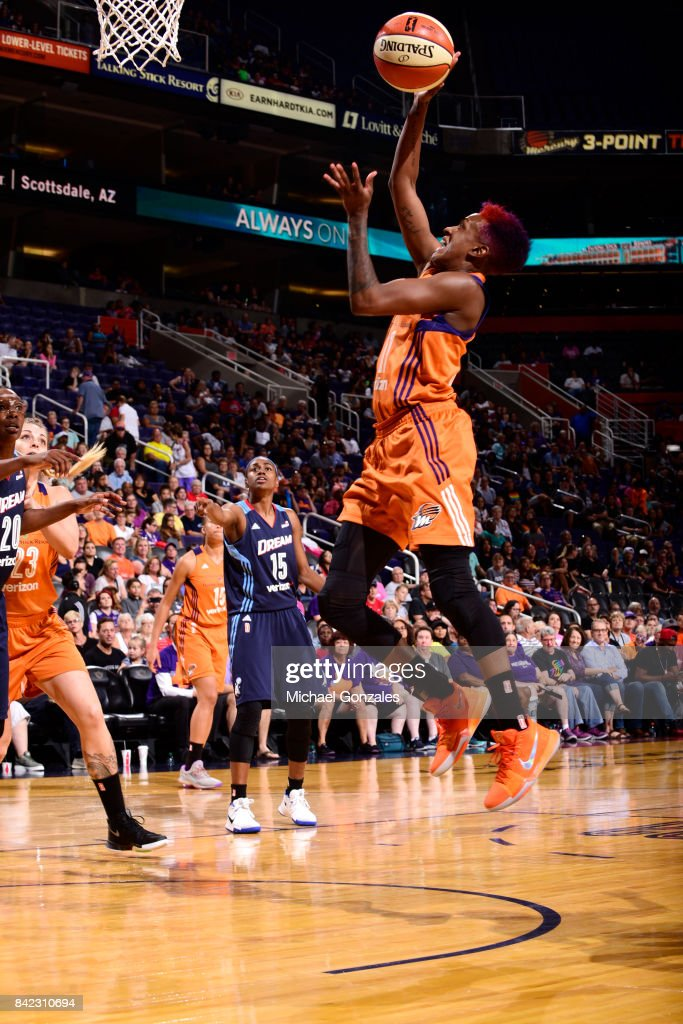 Danielle Robinson #11 of the Phoenix Mercury shoots the ball against the Atlanta Dream on September 3, 2017 at Talking Stick Resort Arena in Phoenix, Arizona.