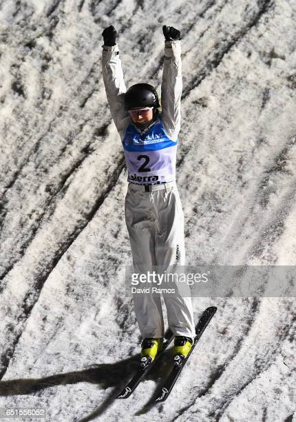 Danielle Scott of Australia celebrate after her jump during the Women's Aerials Final on day three of the FIS Freestyle Ski and Snowboard World...
