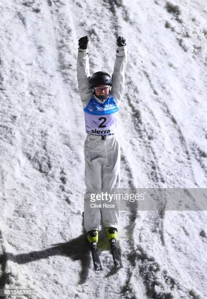 Danielle Scott of Australia celebrates after her jump during the Women's Aerials Final on day three of the FIS Freestyle Ski and Snowboard World...